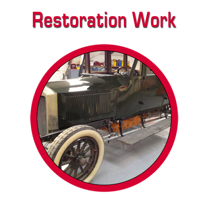Restoration work on vintage cars